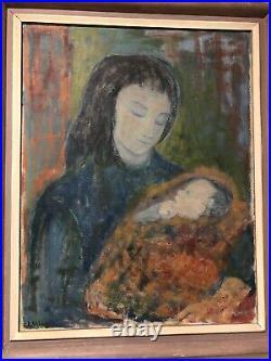 Large Antique Original Oil Painting Mother & Child Includes Frame. Signed
