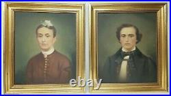 Large Antique Pair Oil on Canvas Portraits Signed George Hausmann Nice Frames