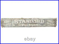 Large Antique STANDARD ROTARY SEWING MACHINE 1890s Advertising Wood Store Sign