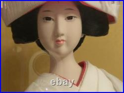 Large Antique Silk Kimono Doll In Original Wood And Glass Case. Signed