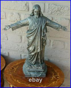 Large Antique Spelter Signed Sacred heart christ jesus figurine statue religious