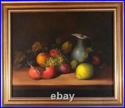 Large Antique Still Life Fruit Oil Painting On Canvas Contemporary Vintage Art