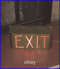 Large Antique Theater EXIT Sign Art Deco Era Chicago Electric Glass Bead 4 avail