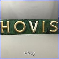Large Antique Toleware Hovis Sign Green With Gilt Lettering