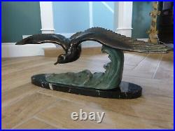 Large Art Deco Seagull in Flight, Signed M. Leducq, Listed French Artist, 1920s