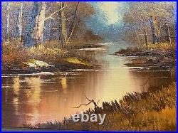 Large Austin Forest Landscape In Autumn Scene Oil Painting Signed/Framed