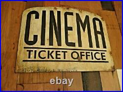 Large CINEMA Sign Vintage Painted Antique style Movie TV room Wooden