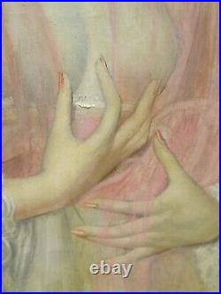 Large Circa 1920 French Portrait Lady Wearing A Pink Veil by GUSTAVE BRISGAND