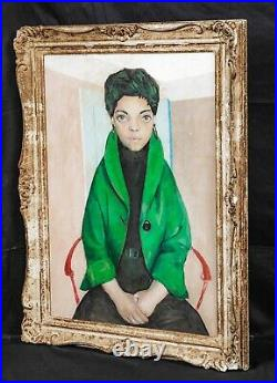 Large Early 20th Century French Portrait Of A Lady In A Green Jacket