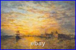Large Early 20th Century Thames River London St Paul's Landscape RENDELL
