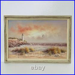 Large Framed Vintage Seascape Lighthouse Nautical Beach Oil Painting 41 X 29