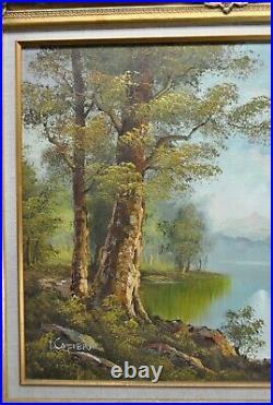Large Framed Vintage Signed I. Cafieri Landscape Oil Painting 24x20