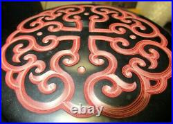 Large Guri Tixi Chinese Carved Cinnabar Black & Red Layered Lacquer Box Signed
