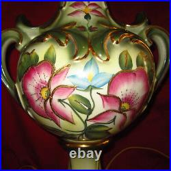 Large HAND PAINTED 1940s Ceramic Table Lamp Floral Greek Urn Shape SIGNED