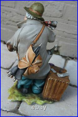 Large Italian capodimonte porcelain statue figurine man signed Bruno Tyche