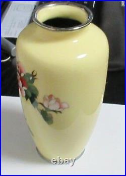 Large Japanese Ando Cloisonne Yellow Enamel Floral Rose Vase 81/2 H Signed