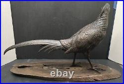 Large Japanese Meiji Bronze Okimono Pheasant WithGold & Shakudo Eyes, Signed