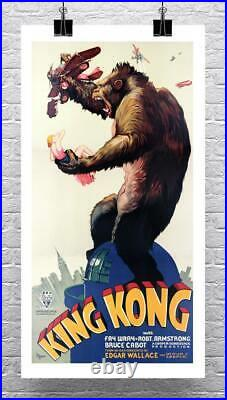 Large King Kong 1933 Vintage Movie Poster Canvas Giclee Print 24x44 in