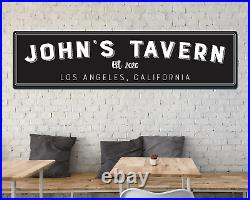 Large Metal Sign Any Personalized Name Tavern Sign Vintage Home Bar Outdoor 72