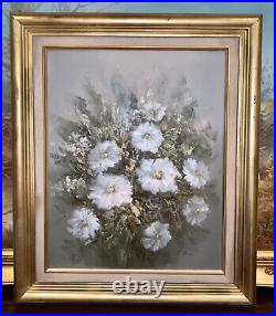 Large Oil On Canvas Painting Still Life Flowers Gold Gilt Frame Signed E Green
