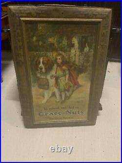 Large Original 1917 Antique Advertising Sign Grape Nuts self framing tin litho