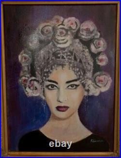 Large Original Oil painting Maria Callas in vintage/antique gilt frame K Leeson