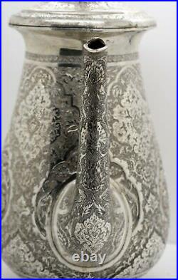 Large PERSIAN ISLAMIC solid silver TEA & COFFEE SET. Birds of Paradise 2,571 gm