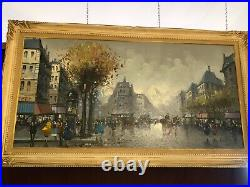 Large Paris Street Scene-framed Oil Painting On Canvas Signed A. Devity