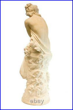 Large Plaster Statue of a Partially Nude Beauty Signed Moreau, Vintage