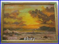 Large Robert Wood Painting Antique Sunset Early California American Coastal Sea