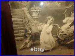 Large Scarce Antique SIGNED Arthur J. Elsley Monochrome Print, Children Playing