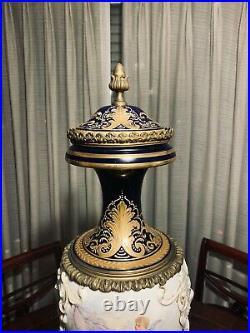 Large Sevres style porcelain vase urn 19th century fine signed 19th century