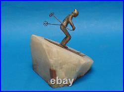 Large Signed 1976 Curtis Jere Bronze And Onyx Figure'downhill Skier