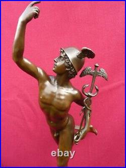 Large Signed Bronze Statue Mercury Hermes Nude Art Figure Jimmy Greek Hot Cast