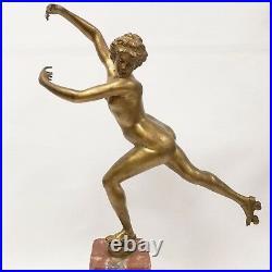 Large Signed H. CALOT Antique Bronze Sculpture Nude Woman Roller Skating