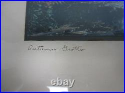 Large Signed Wallace Nutting Autumn Grotto Hand Tinted Framed Photograph