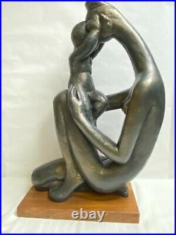Large Vintage Austin Productions 1972 Sculpture Nude Mother & Child/Baby Austin