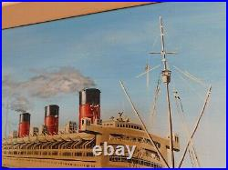Large Vintage Framed Original Signed Oil Painting Queen Mary Liner W H Stockman