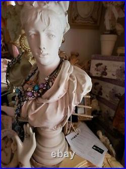 Large Vintage French Art Nouveau Plaster Antique Lady Bust A Carrier Belleuse