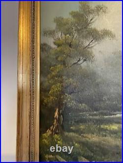 Large Vintage Gold Framed Oil On Canvas Signed Indistinctively By Artist