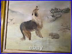 Large Vintage Lassie And Lamb In Winter Landscape Oil Painting Signed/Framed
