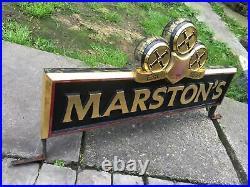 Large Vintage Marstons Sign bar pub man cave Shed Display Cafe Prop Shop Window