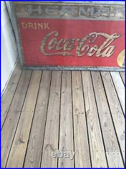 Large Vintage Metal Coca Cola Sign 6 Feet X 3 Feet Dated 1938 Antique Rare