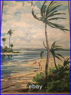 Large Vintage Paint By Number Painting 27x21 Florida Beach Sunbathers Palm Trees