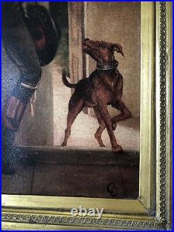 Large antique gilt framed oil on canvas