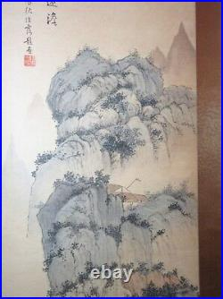 Large antique original signed Chinese watercolor landscape scroll painting art