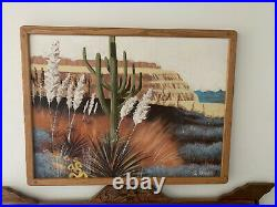Lee Reynolds Burr large 41 x 32 cactus desert oil painting canvas mid century