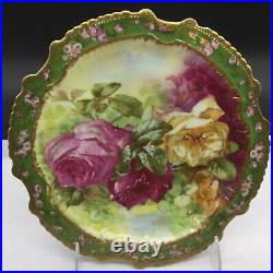 Limoges Coronet Large Roses Flowers Display Cabinet Plate Antique Signed
