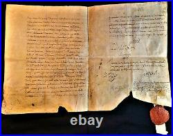 Louis XVI Signed Letter On Large Parchment With Superb Red Wax Royal Seal 1780