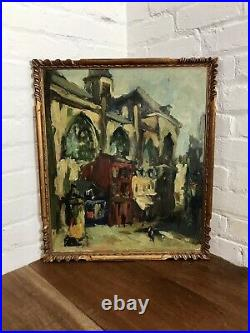Lrg Antique French Landscape Oil On Canvas Signed Impressionist Painting Vintage